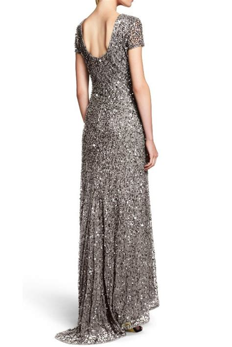 adrianna papell lead beaded scoop  sequin dress
