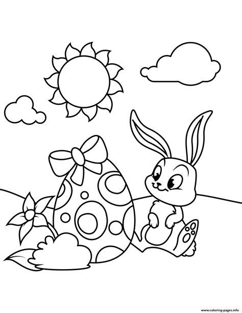 cute bunny  easter egg coloring pages printable