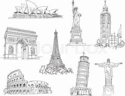 Drawing Landmark Vector Attractions Drawings Background Freehand