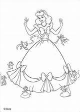Coloring Cinderella Pages Print Children Disney Cartoons sketch template