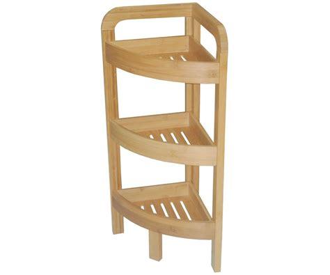 etagere d angle bambou salle de bain 3 niveaux meuble rangement bois 5850