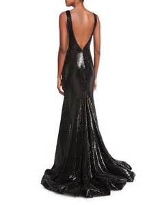 concepts earrings jovani sleeveless bateau neck sequined mermaid gown in