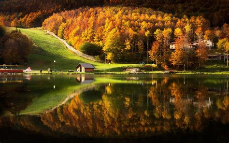 nature landscape lake house cabin mountain forest fall water reflection grass trees