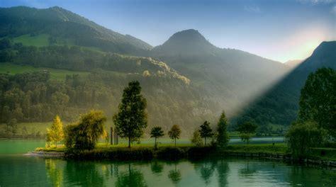 nature, Landscape, Lake, Sunlight, Hill, Switzerland ...