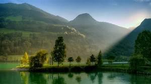 Nature, Landscape, Lake, Sunlight, Hill, Switzerland