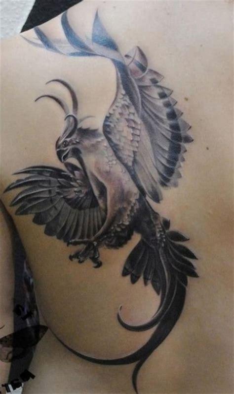 Exemple Tatouage Phoenix Femme Monochrome  Tatouage Femme