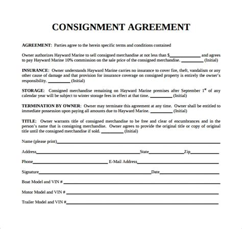 sample consignment agreement templates