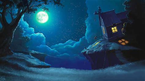 Dark Forest Background With Moon 求动漫星空的图片 百度知道