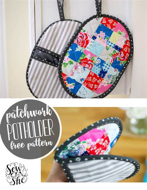 sewing kitchen accessories patchwork potholder with pockets a mini quilt for your 2164