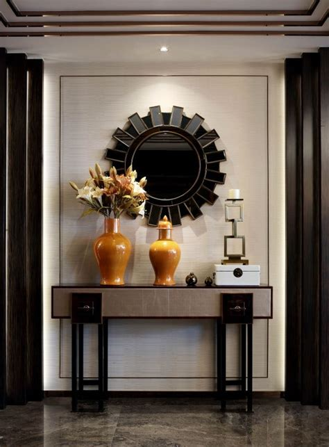 luxury entryway decor  modern console table  mirror