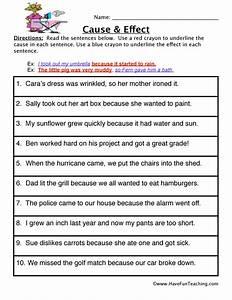 Cause and Effect Worksheets - Have Fun Teaching