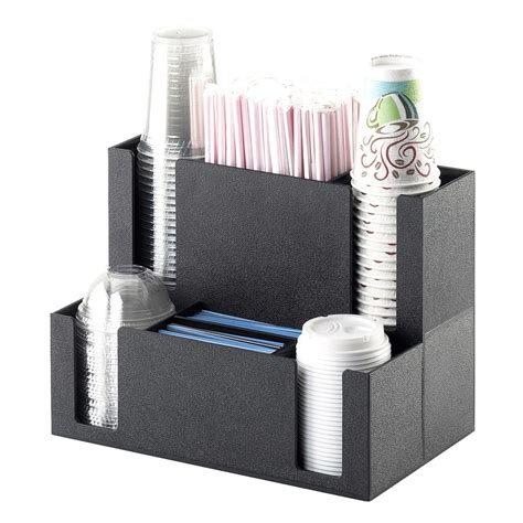 Find the results in lowpi.com. Cal-Mil 2041 Coffee Station Organizer - For Cups, Lids, Straw, Stir-Sticks