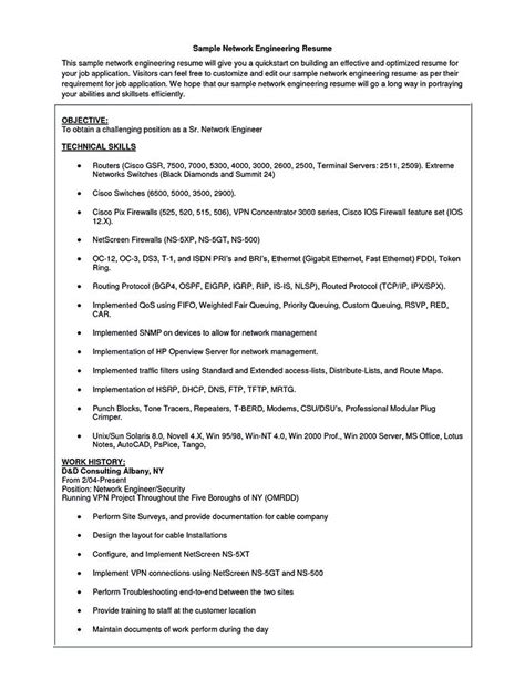 Networking Skills In Resume by Network Security Engineer Resume Network Engineer Resume