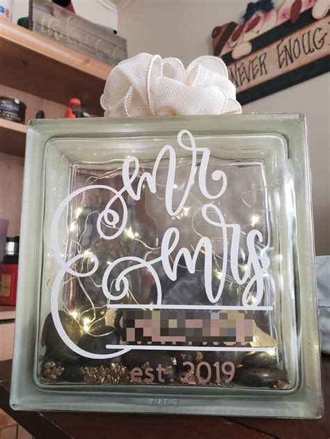 light  personalized glass block   wedding