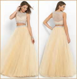 Selling Sofas Online by Discount 2015 Champagne Two Piece Long Prom Dresses Beaded
