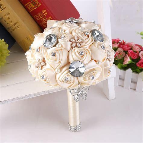 handmade diy flowers pearls silk rose bridal flowers