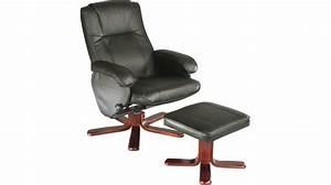 fauteuil relaxation avec pouf cuir noir fauteuil With tapis de course avec canape et fauteuil relax cuir