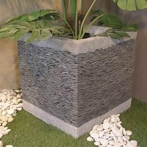 Meuble En Pierre : pot de jardin en ardoise cube naturel h 50 cm ~ Teatrodelosmanantiales.com Idées de Décoration
