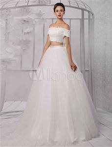 two pieces crop top off the shoulder ball gown wedding With off the shoulder wedding dress topper