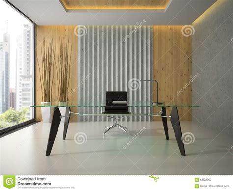 le bureau moderne intérieur du bureau moderne avec le rendu en verre de la