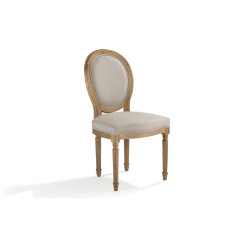 chaises b b chaise médaillon chêne tissu écru medicis pier import