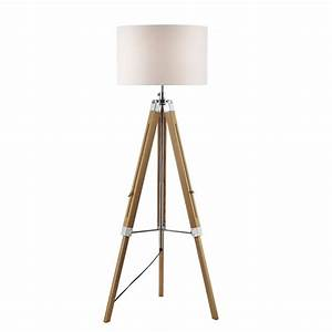 wooden tripod or easel like floor standing lamp with white With tripod floor lamp with white pleated shade