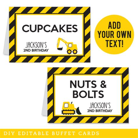 construction party editable buffet cards instant