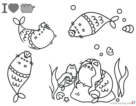 Pusheen Coloring Pages Beautiful Mermaid