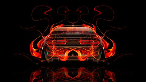 dodge challenger muscle  fire abstract car  el tony
