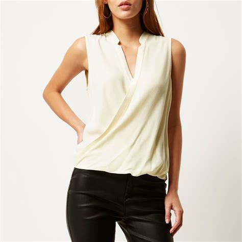 wrap front blouse river island wrap front blouse in lyst