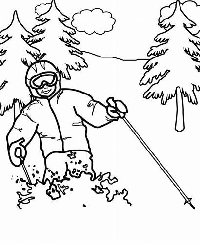 Coloring Printable Skiing Winter Alpine Olympics Olympic