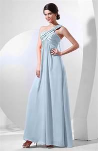 Ice Blue Elegant Empire One Shoulder Sleeveless Chiffon ...