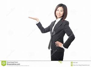 Young Business Woman Introducing Something Stock Photo ...