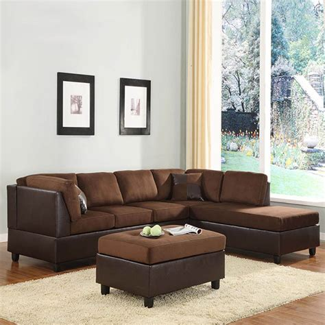 Sofa Sets On Clearance by Home Elegance Chocolate Microfiber Sectional Sofa