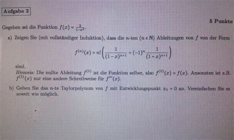gegeben sei die funktion fx   formel fuer  te