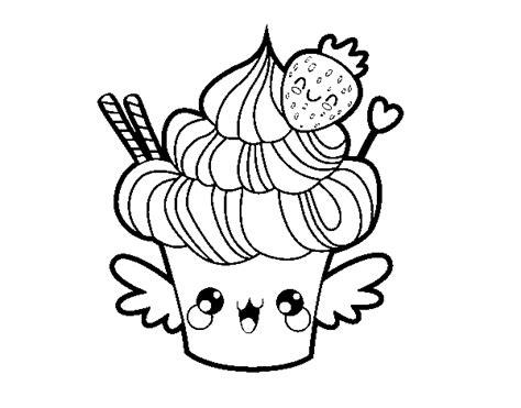 disegni kawaii da colorare disegno di cupcake kawaii con la fragola da colorare