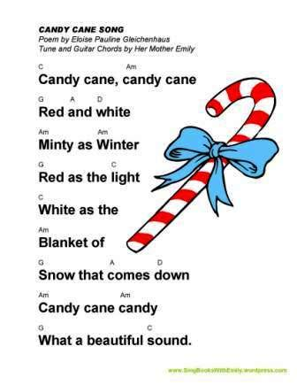 illustrated singable poem sing books with emily the 245 | candy cane song epg eleg sbwe w guitar chords