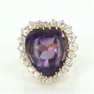 Antique Victorian Heart Amethyst Diamond Cocktail Ring ...