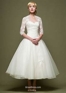 empire tea length strapless ivory fashion ball gown tulle With tea length lace wedding dresses