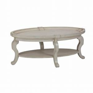 Jofran sebastian oval coffee table in antique cream 540 1 for Antique cream coffee table