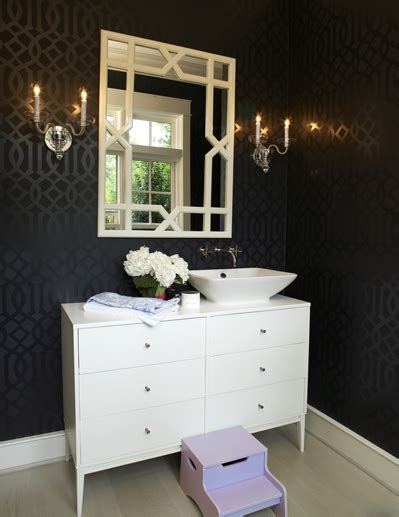 imperial trellis wallpaper eclectic bathroom house