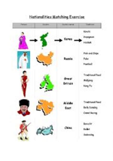 nationalities matching exercise esl worksheet  searetea