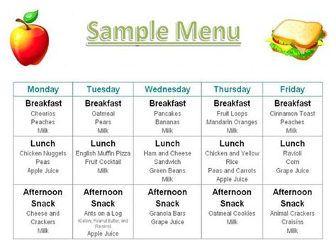 Daycare Food Menu Template by Food Menu Home Daycare In Port St Fl 32927