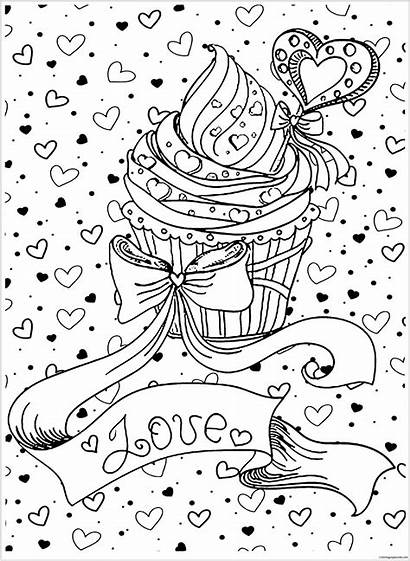 Coloring Cupcake Pages Cake Adults Cupcakes Printable