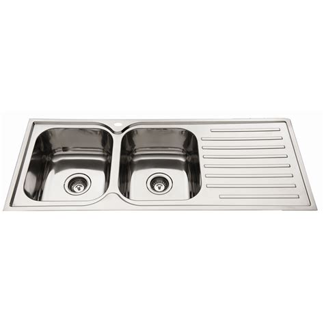 everhard kitchen sinks everhard 1180mm squareline lh 2 bowl kitchen sink with drainer 3616