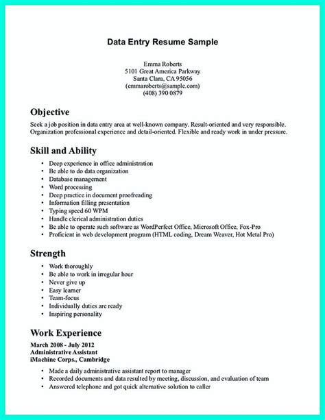 data entry resume duties 2695 best images about resume sle template and format on business intelligence