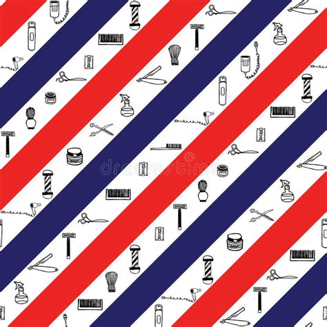 colors barber shop seamless pattern with barbershop sign color stripes stock