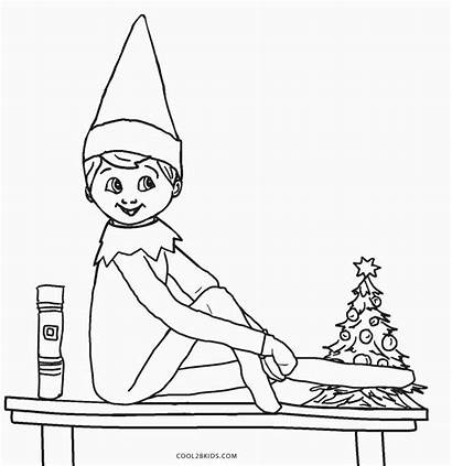Elf Shelf Coloring Pages Printable Christmas Sheets