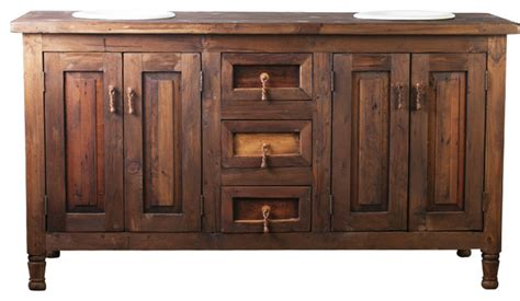 Double Sink Rustic Barnwood Vanity-rustic