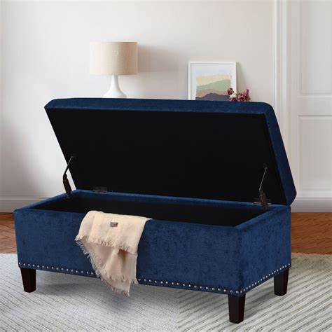 Bedroom Bench Navy Blue by Adeco Royal Blue Microfiber Rectangular Tufted Storage